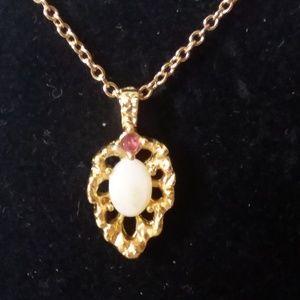 Van Doren Genuine Opal & Ruby Gold Plated Necklace